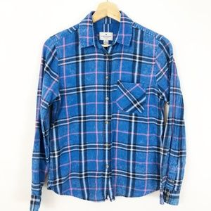 American Eagle Distressed Blue Plaid Button Down